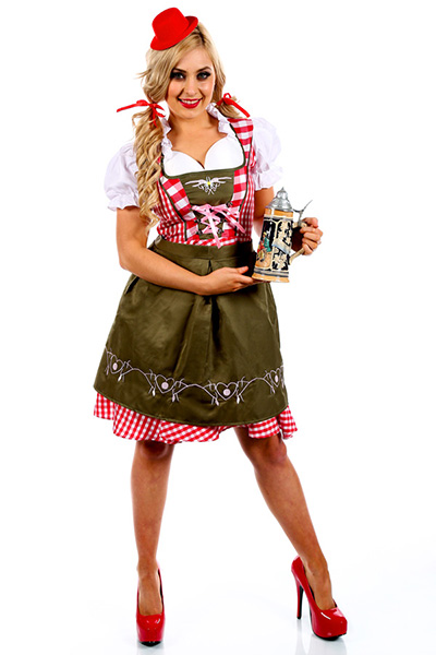Deluxe Red Classic Bavarian Womens Oktoberfest Costume
