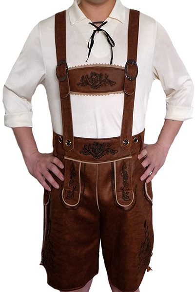 Brown Suede Leather Lederhosen Oktoberfest Mens Costume